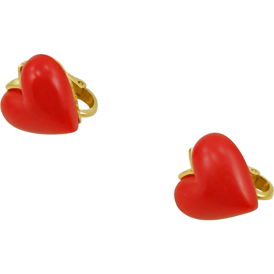 Vintage Signed Trifari Red Heart Clip Earrings