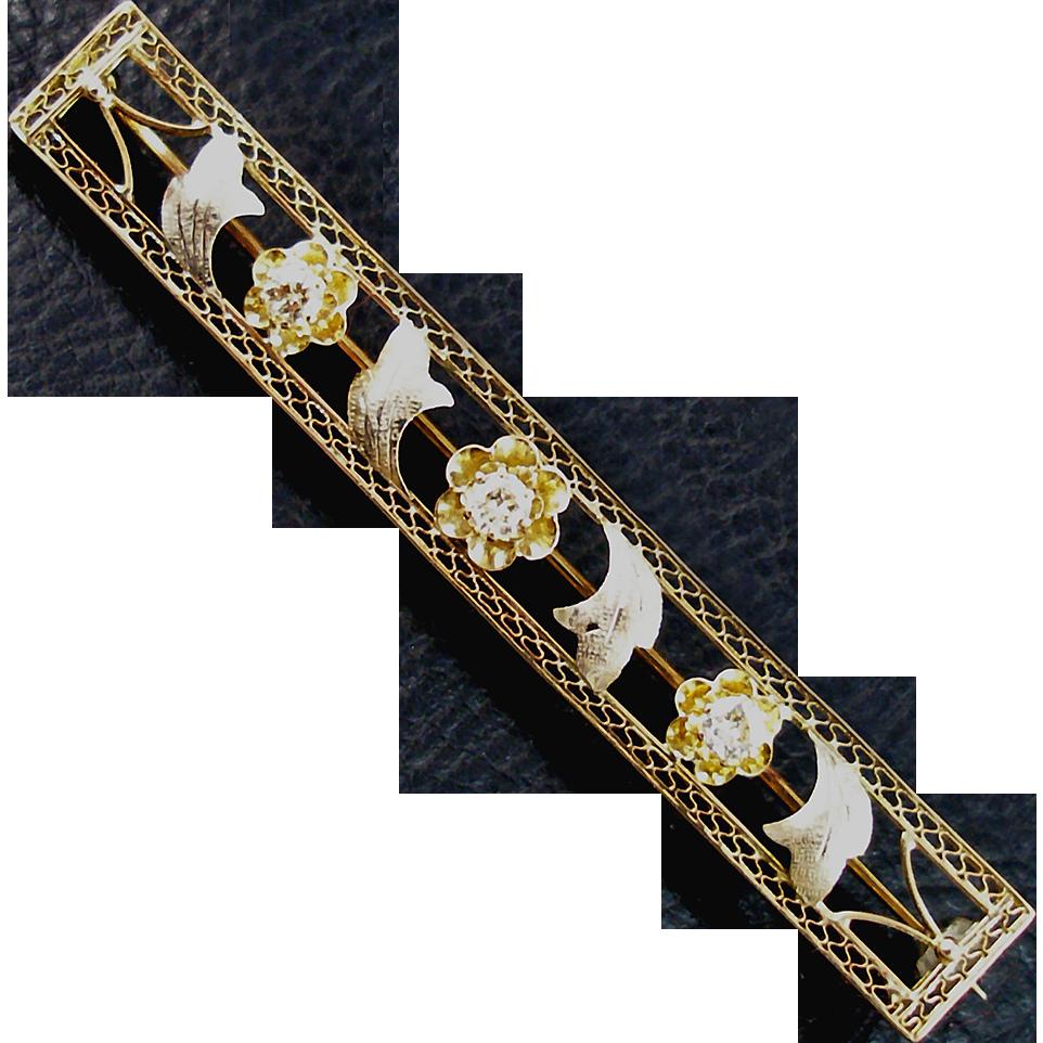 Edwardian 14K & Diamond Bar Pin