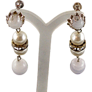 Signed Vintage Castlecliff Art Glass Earrings