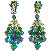 Unsigned Vintage Green Aurora Borealis Chandelier Earrings