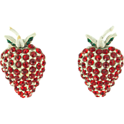 Vintage Signed Hollycraft Strawberry Earrings