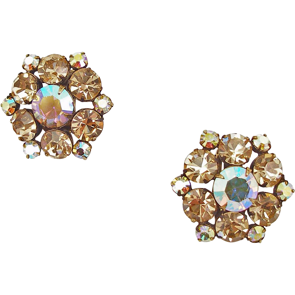 Unsigned Vintage Crystal Sage and Aurora Borealis Clip Earrings