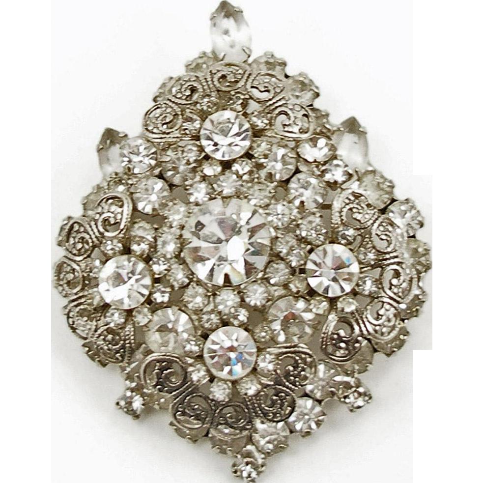 Vintage Juliana Crystal and Filigree Scroll Pin or Pendant