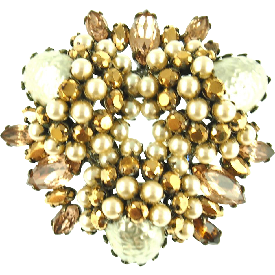 Vintage Schreiner Faux Pearl and Gold Rhinestone Pin or Pendant