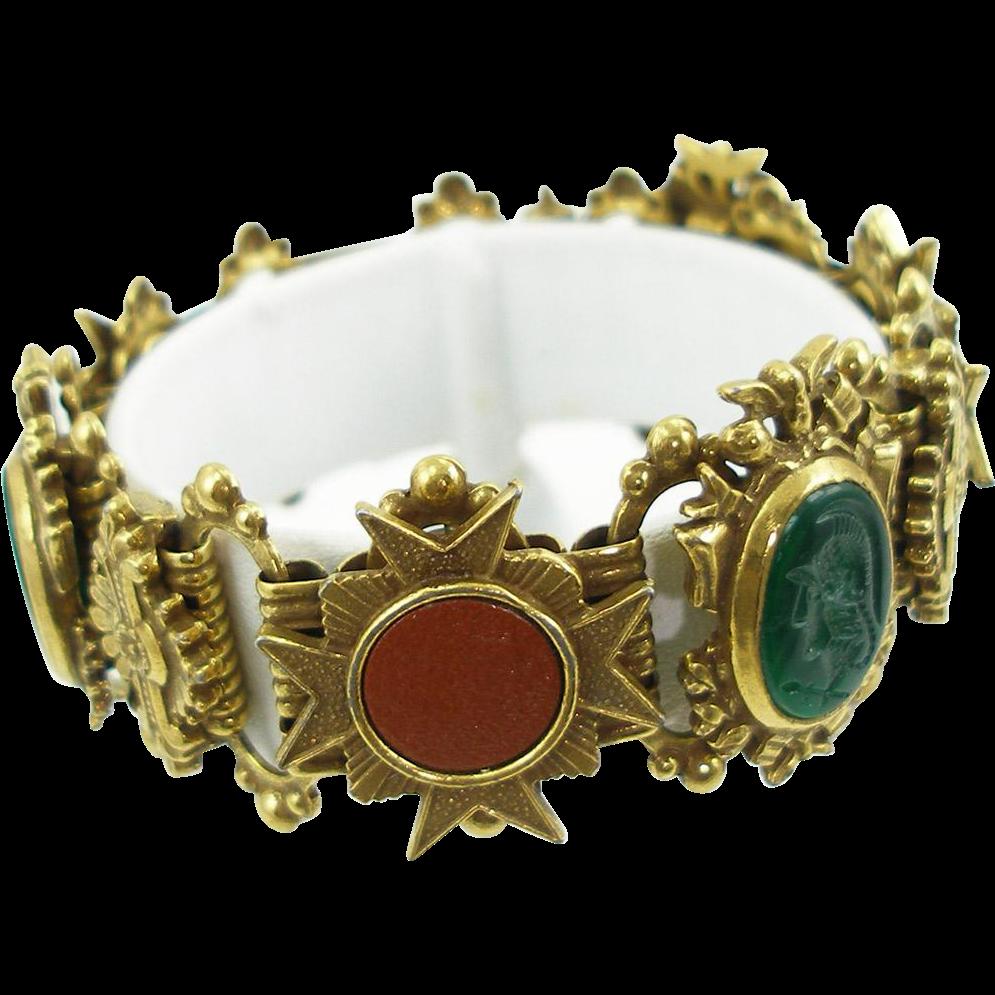 Vintage Signed Art Faux Intaglio Bracelet