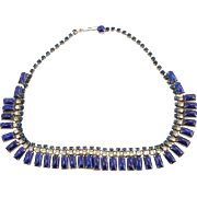 Unsigned Vintage Faux Lapis and Rhinestone Necklace
