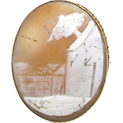 Antique Gold Filled Scenic Cameo Pin
