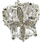 Vintage Costume Large Fake Diamond Ring Size 7