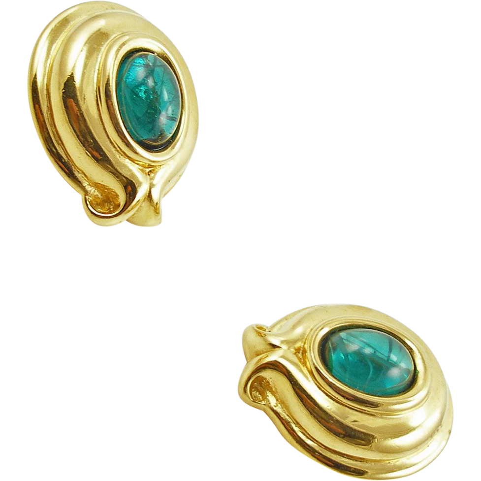 Vintage Signed Fendi Faux Emerald Earrings