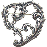 Art Nouveau Sterling Heart Pin