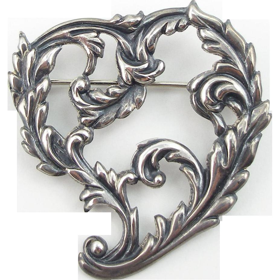 Art Nouveau Sterling Heart Pin