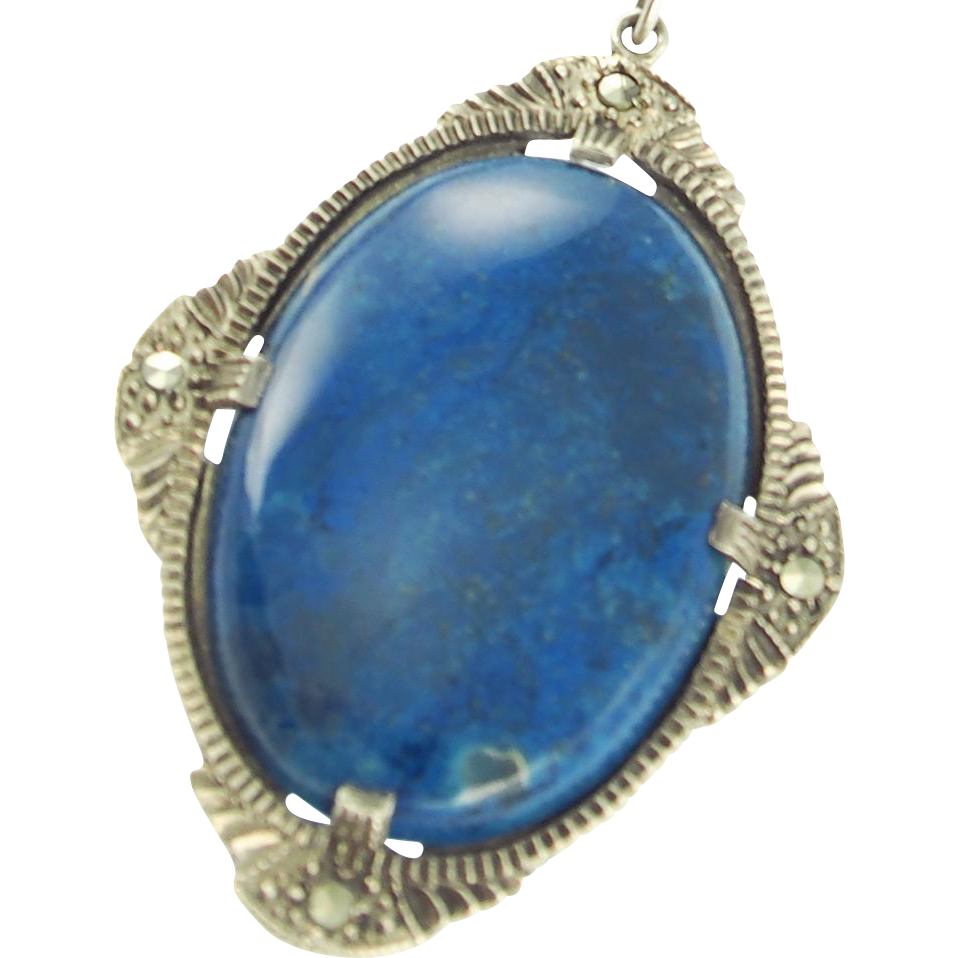 Art Deco Sterling and Blue Stone Pendant Necklace