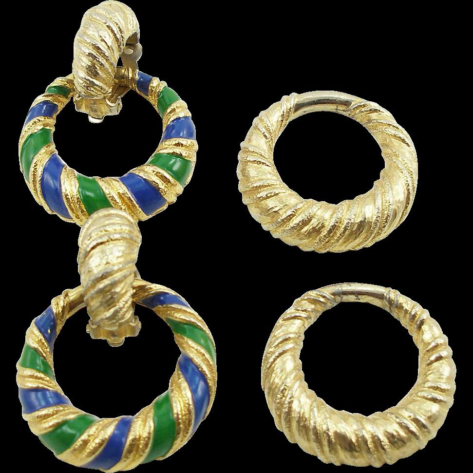 Vintage Signed Jomaz Convertible Hoop Earrings