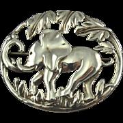 Vintage Sterling Framed Elephant Brooch