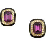Unsigned Vintage Faux Amethyst & Diamond Clip Earrings