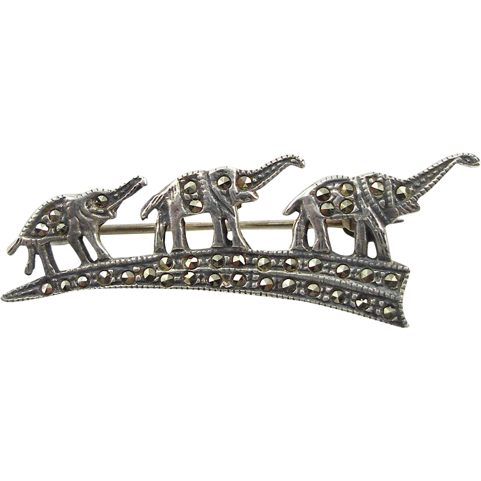Vintage Sterling & Marcasite Elephant Family Pin