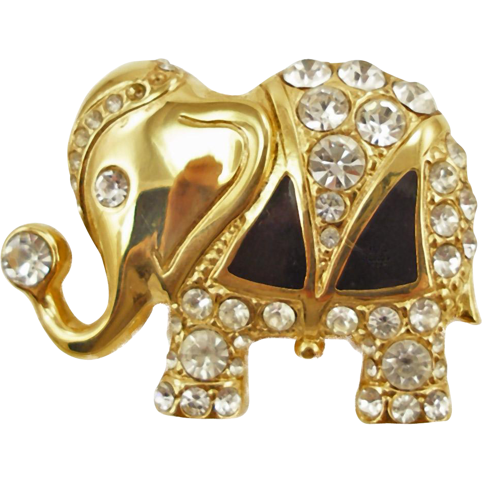Jeweled and Enameled Elephant Pin / Pendant Signed AV