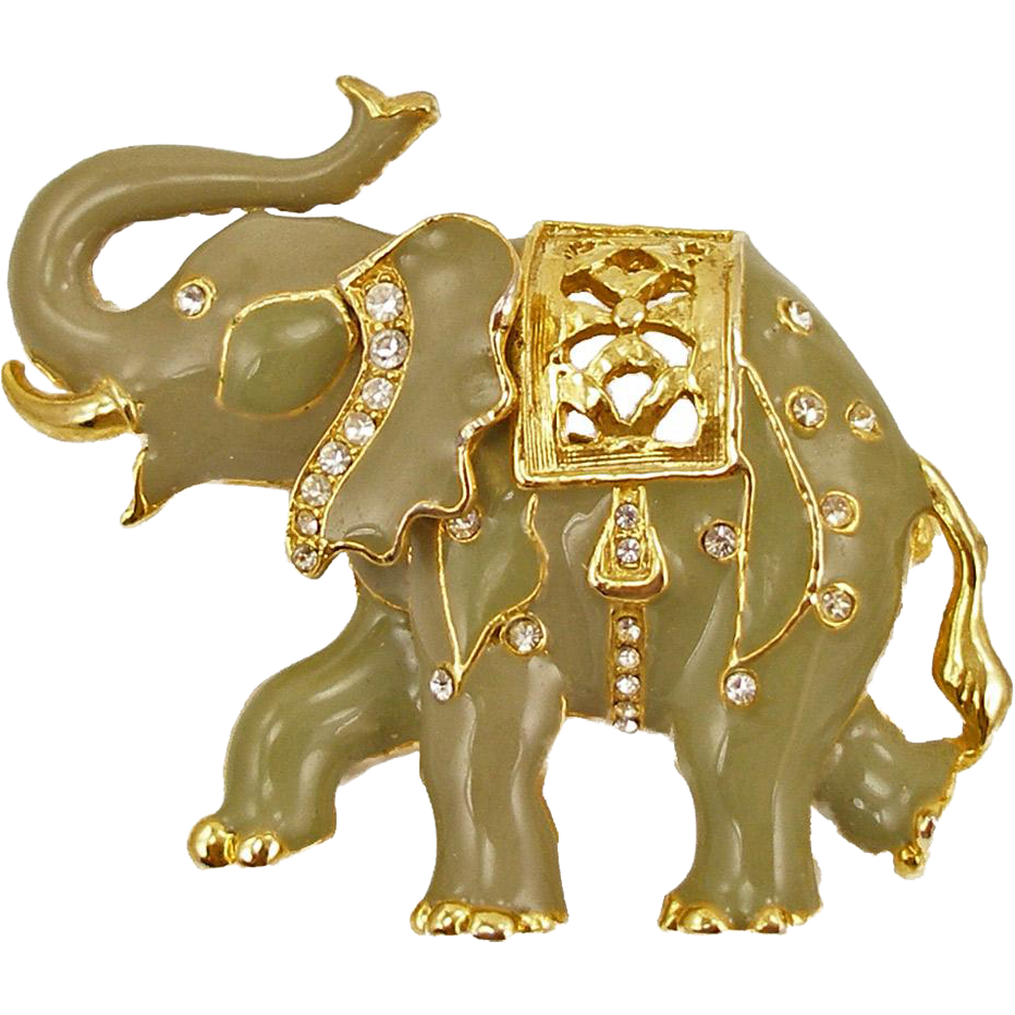Vintage Enameled Elephant Pin or Pendant