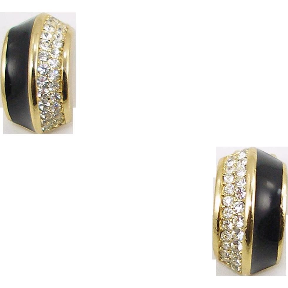 Vintage Signed Chr.Dior Enamel & Rhinestone Clip Earrings