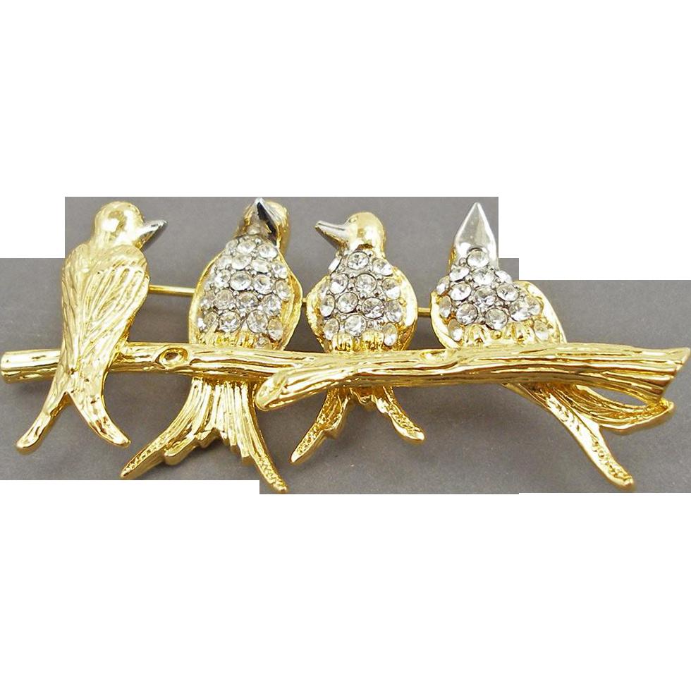 Joan Rivers Birds on a Branch Pin