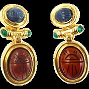 Vintage Glass Scarab Clip Earrings