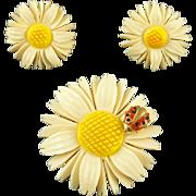 Vintage Accessocraft Daisy Pin & Earrings Demi Parure