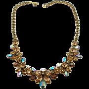 Vintage Signed Regency Topaz & Blue Aurora Borealis Necklace