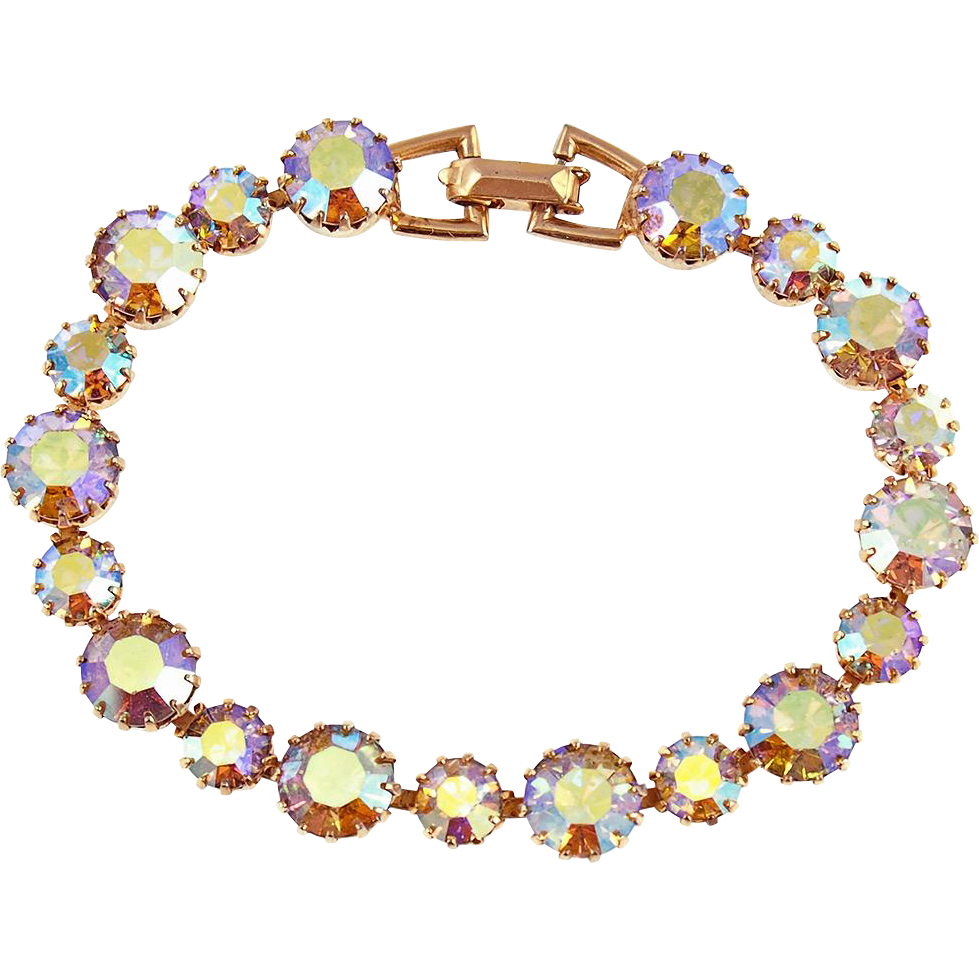 Vintage Weiss Aurora Borealis Line Bracelet