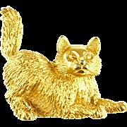 Vintage Signed Trifari Golden Kitty Cat Pin