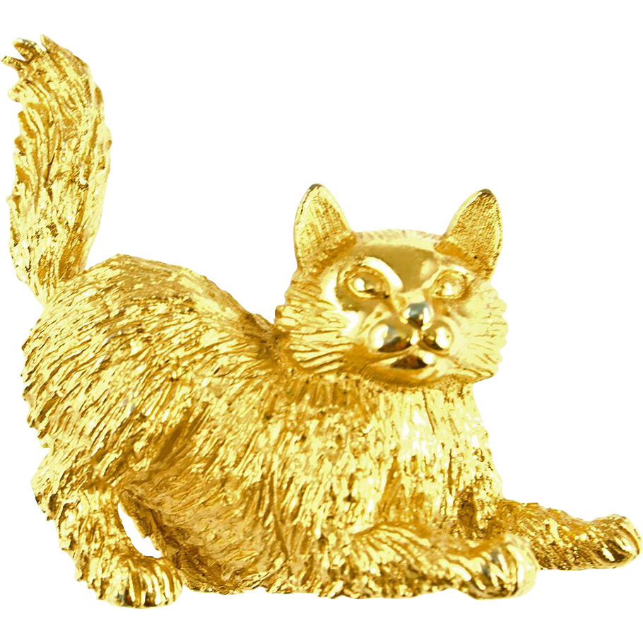 Vintage Signed Trifari Golden Kitty Cat Pin