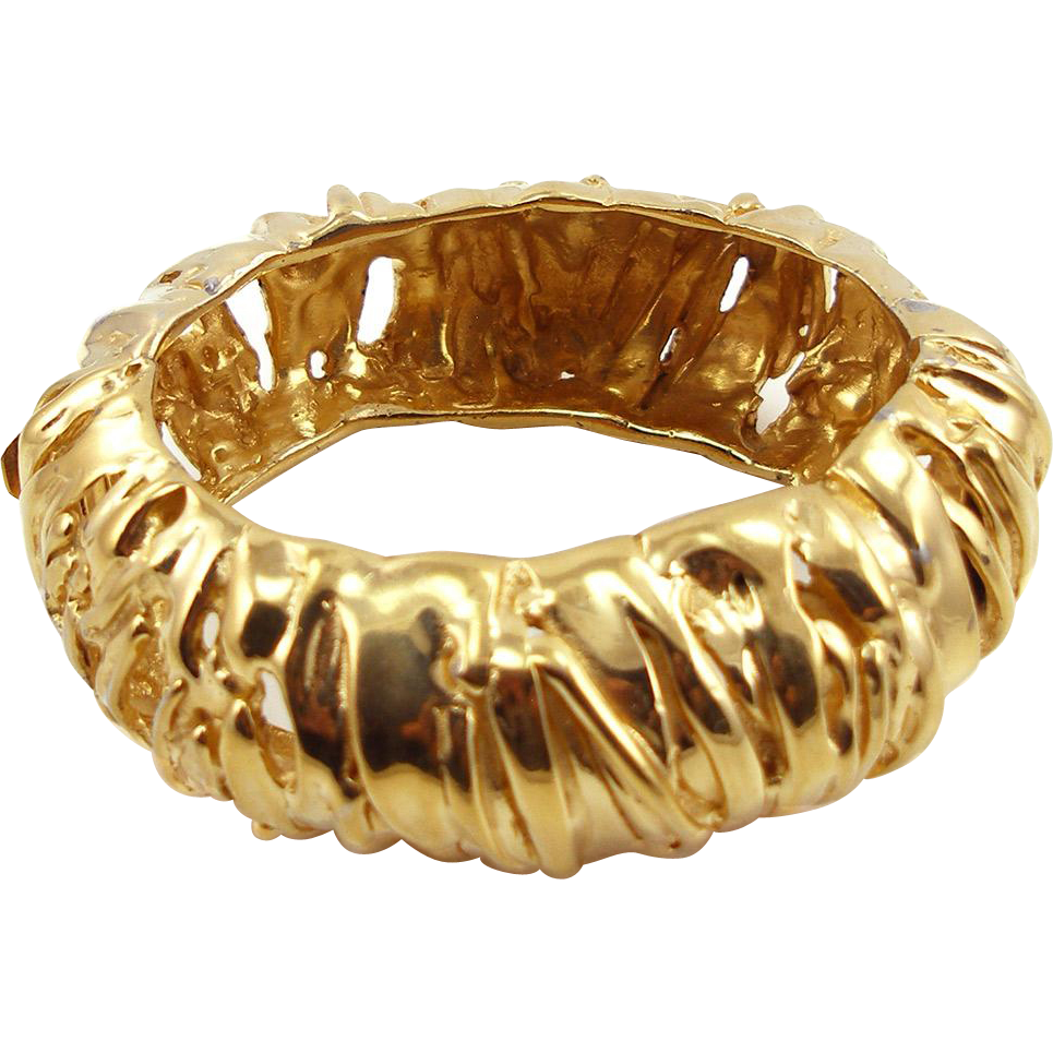Vintage Ciner Big & Bold Golden Hinged Bangle Bracelet