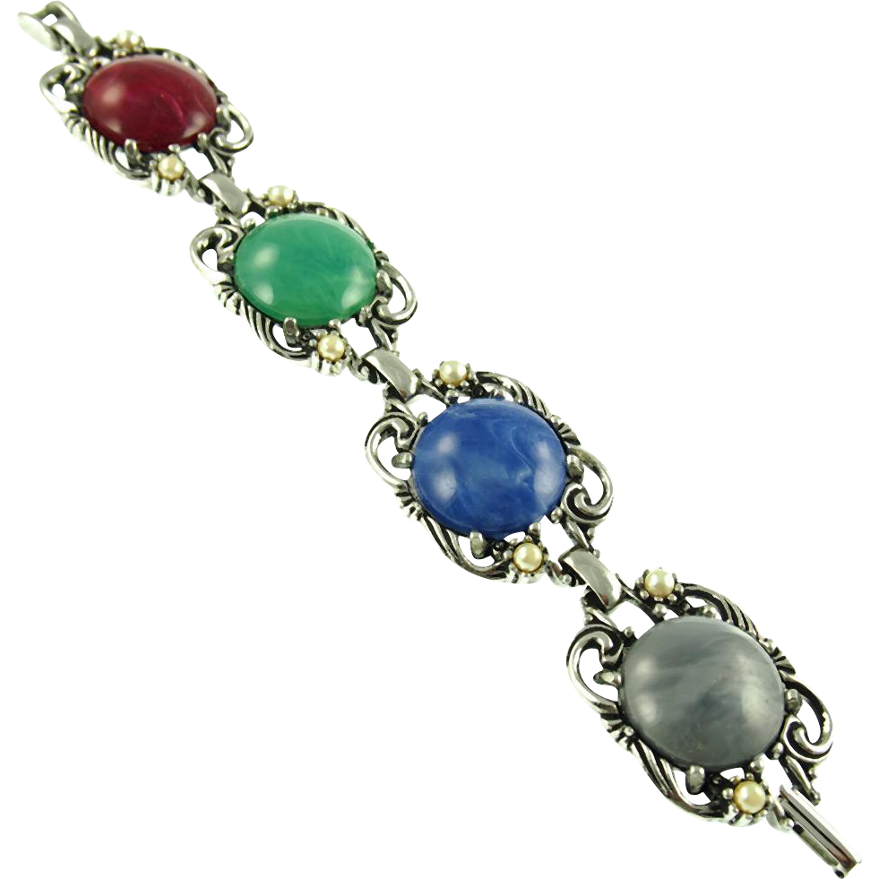 Unsigned Vintage Multi Colored Cabochon Link Bracelet
