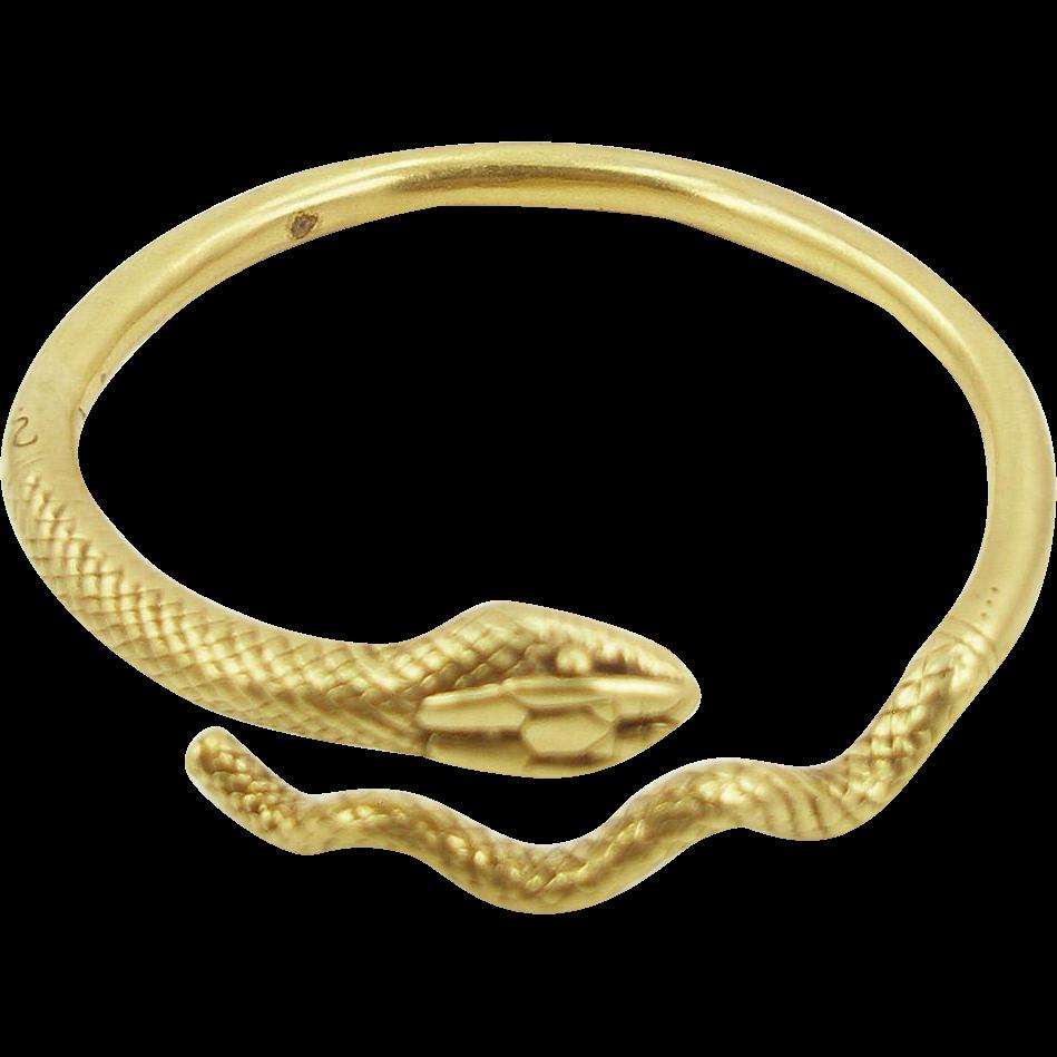 Vintage Signed MMA Egyptian Revival Snake Bracelet