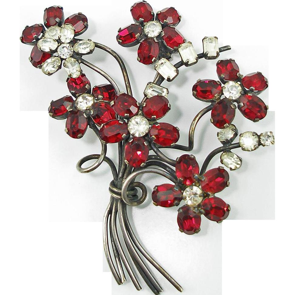 Vintage Red & Crystal Austrian Floral Brooch