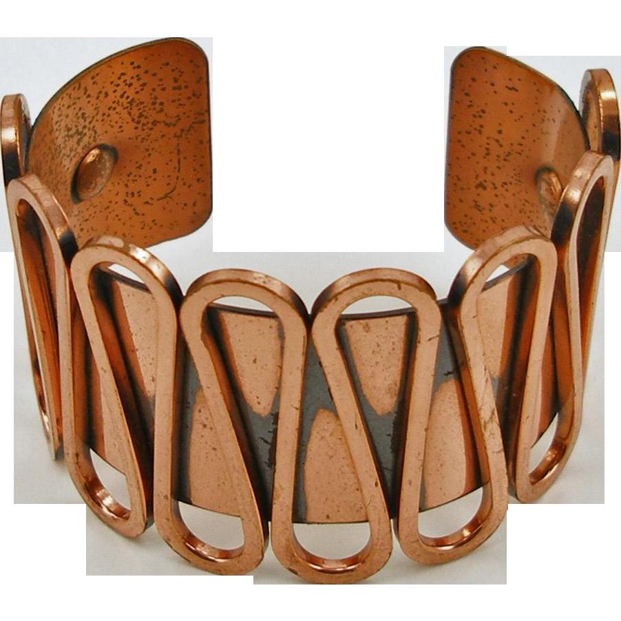 Vintage Signed Renoir Rondele Cuff Bracelet