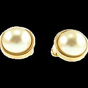 Vintage Swarovski Large Faux Pearl Clip Earrings