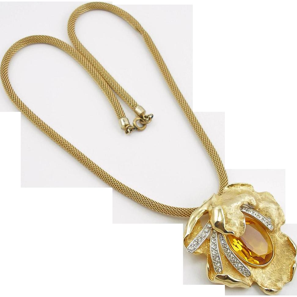 Vintage Faux Topaz Pin Pendant on Mesh Chain