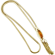Vintage Bolo Style Necklace with Glass Topaz Stone