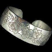 Vintage Kirk Pewter Jonquil Cuff Bracelet