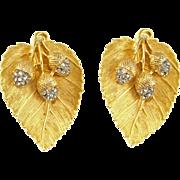 Vintage Craft Leaf & Acorns Clip Earrings