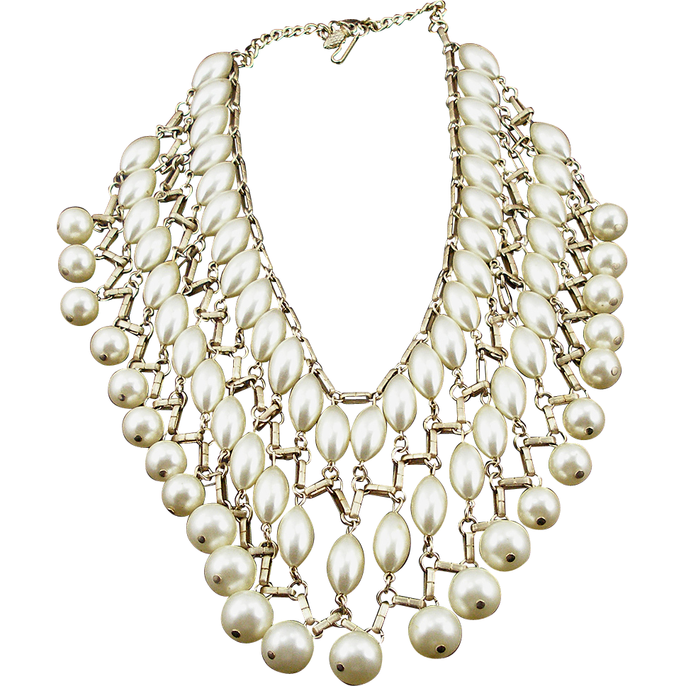 Vintage Signed Emmons Faux Pearl Bib Necklace