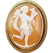 Vintage 14K Cupid Shell Cameo Pin