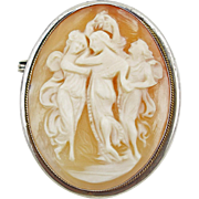 Vintage Coin Silver (800) Three Graces Cameo pin
