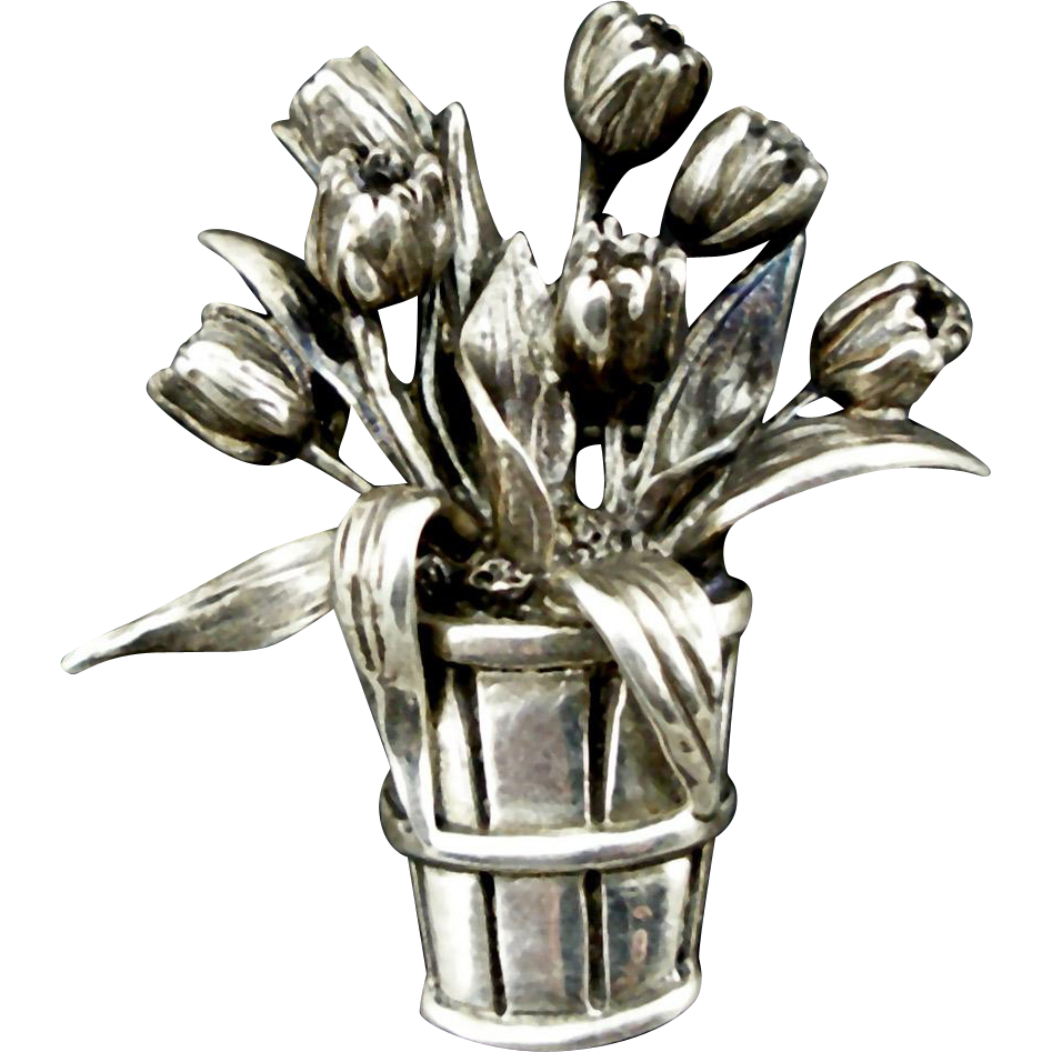 Vintage H&H Sterling Basket of Tulips