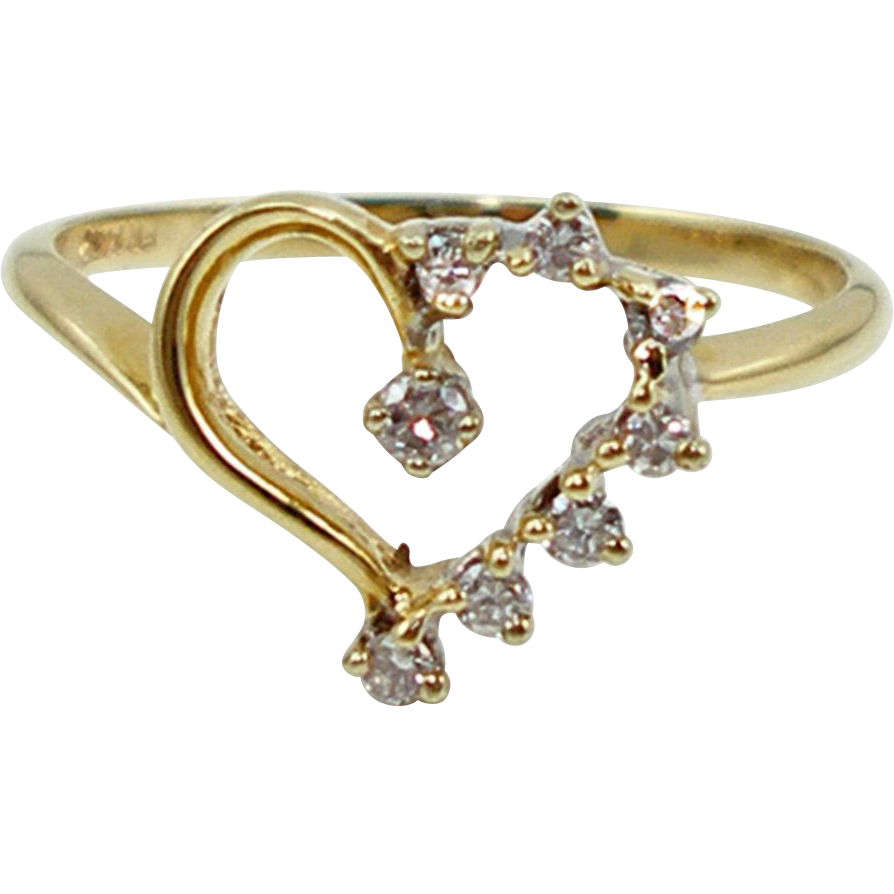 Vintage 14K & Diamond Heart Ring