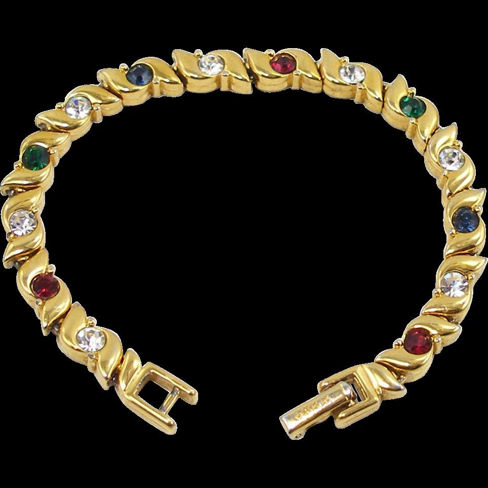 Vintage Signed D'Orlan Faux Gem Bracelet