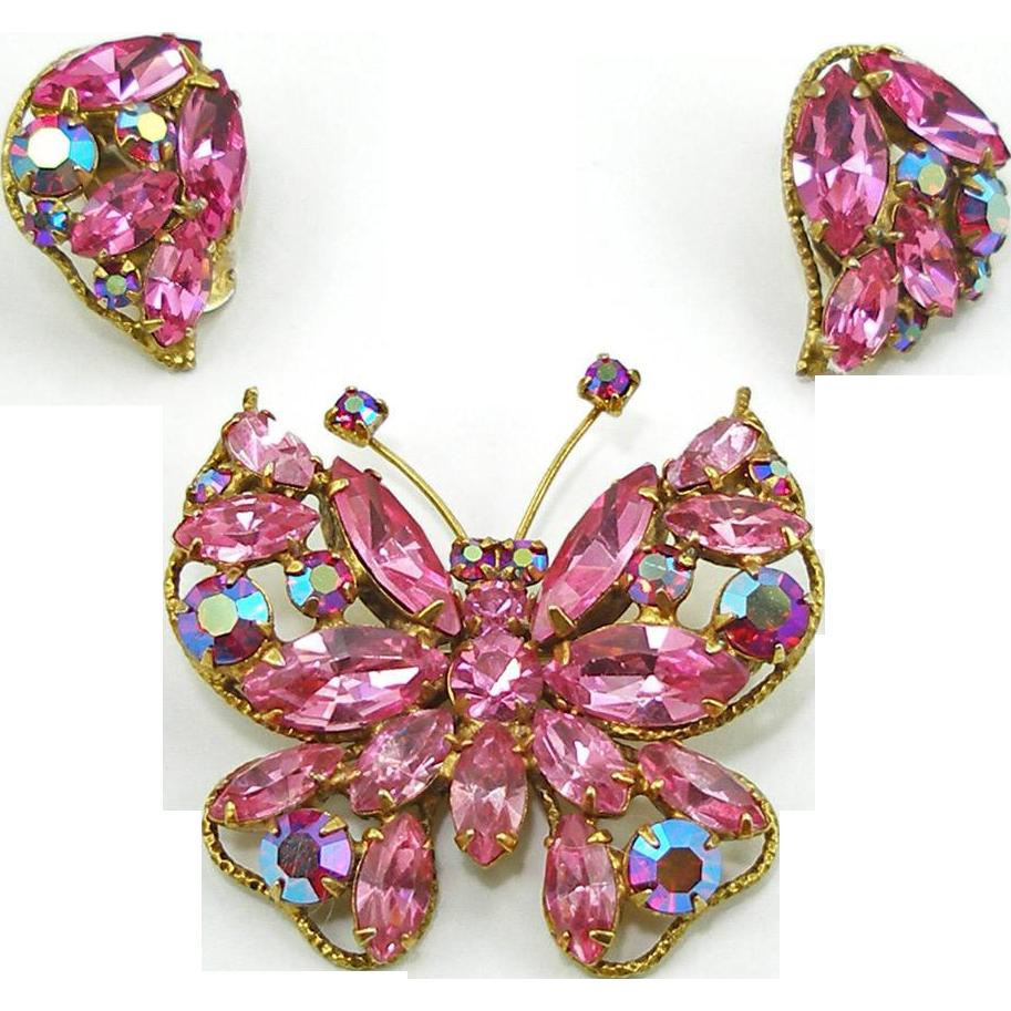 Reserved for Alison G. Vintage Signed Regency Pink Butterfly Demi Parure