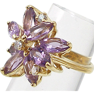 Vintage 14K Amethyst and Diamond Ring