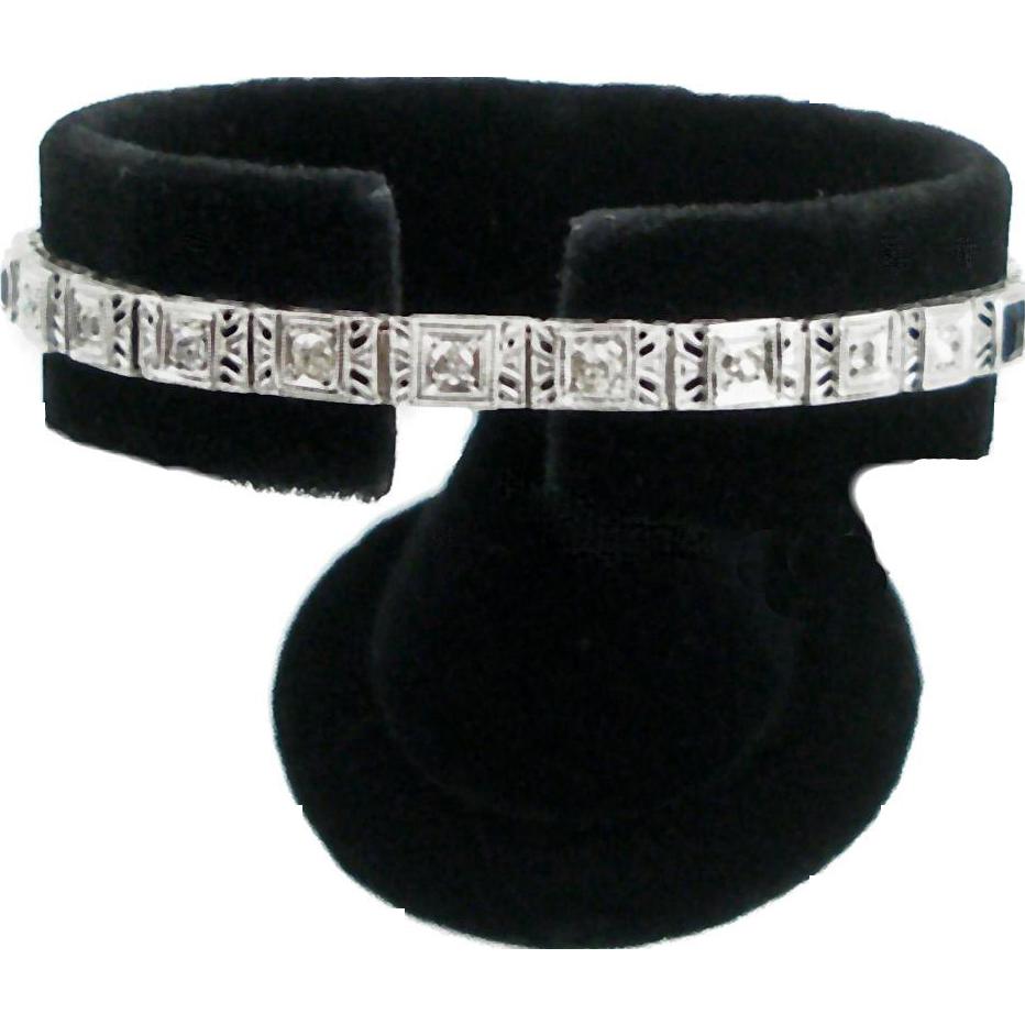 Vintage Art Deco 14K White Gold Filigree Bracelet with Diamonds