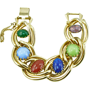 Vintage Signed Kafin New York Heavy Link Bracelet with Colored Cabochons